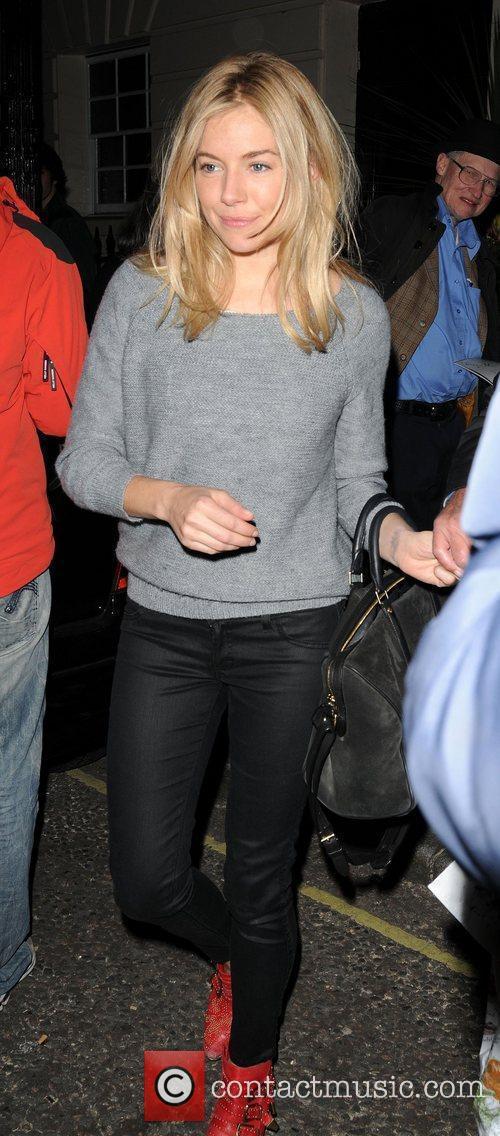 Sienna Miller leaves the Theatre Royal Haymarket after...