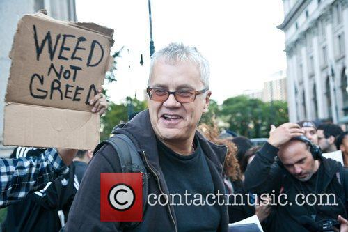 Speaks to Occupy Wall Street protesters at the...