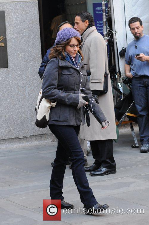 Tina Fey is seen shooting scenes for '30...