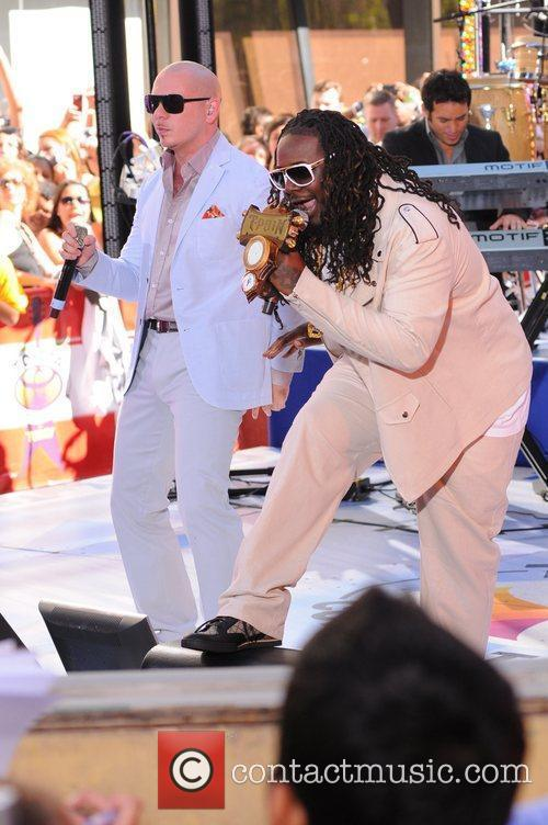 T--Pain and Pitbull performing at the Toyota Concert...