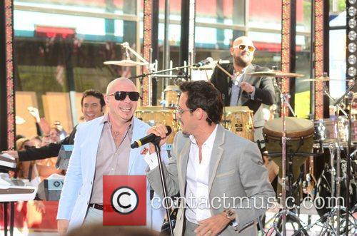 Pitbull, Marc Anthony performing at the Toyota Concert...