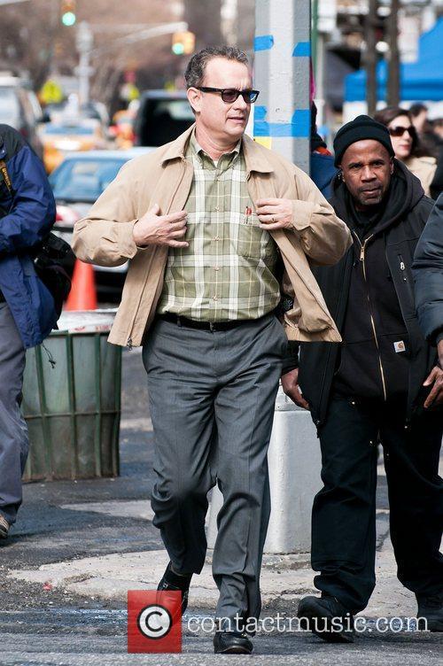 Tom Hanks on location on the film set...