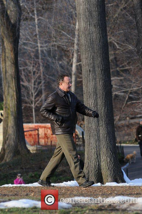 Tom Hanks on the film set of 'Extremely...
