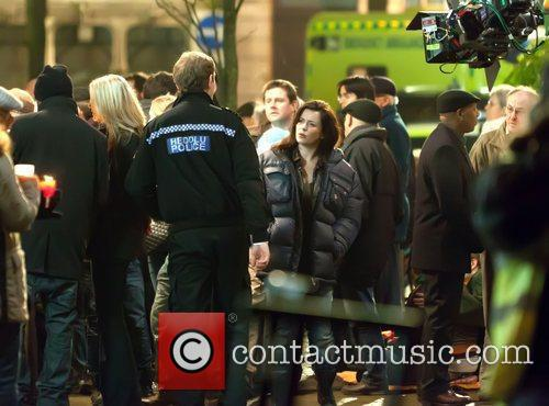 Eve Myles and Kai Owen on the set...