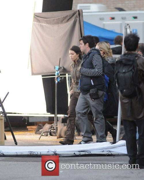 Jessica Biel on the set of 'Total Recall'...