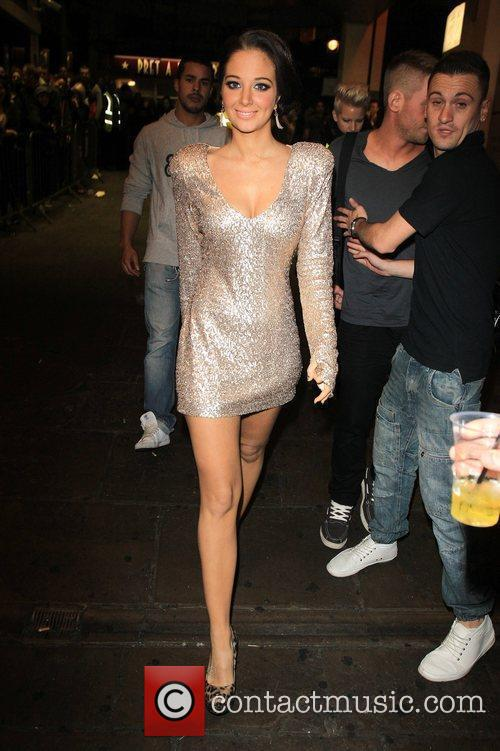 Tulisa Contostavlos arrives at G-A-Y nightclub