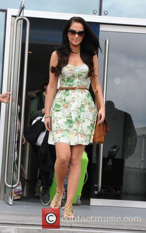 Tulisa Contostavlos leaves the Lowery Hotel in Manchester...