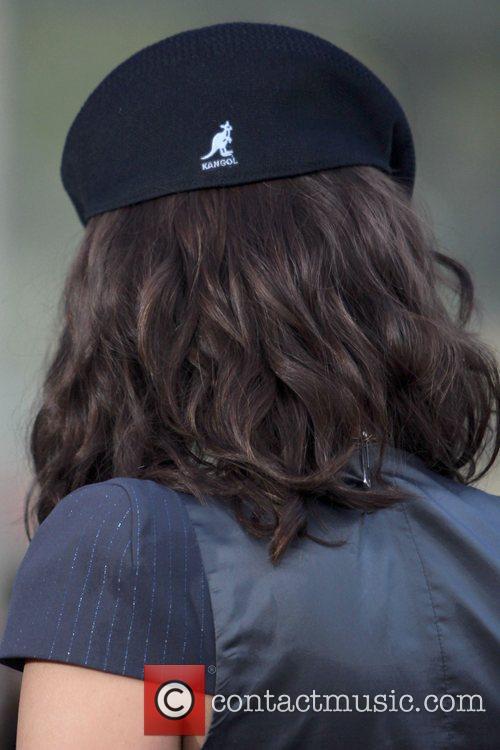 Tyra Banks' Kangol hat Tyra Banks filming an...