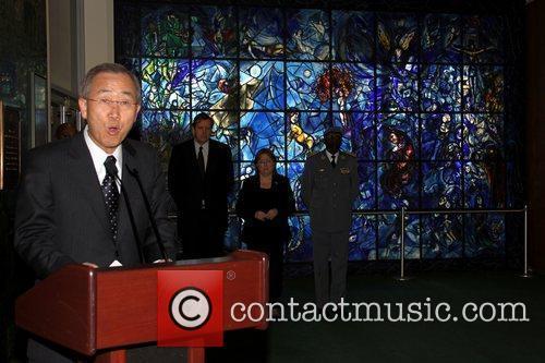 UN Secretary General Ban Ki-Moon speaks at a...