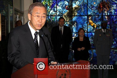 UN Secretary General Ban Ki-Moon speaks at a...