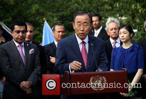 Ban Ki-moon speaking at the ceremony 30th anniversary...
