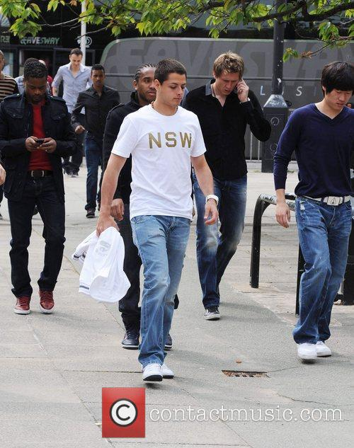 The Manchester United first team heads out for...