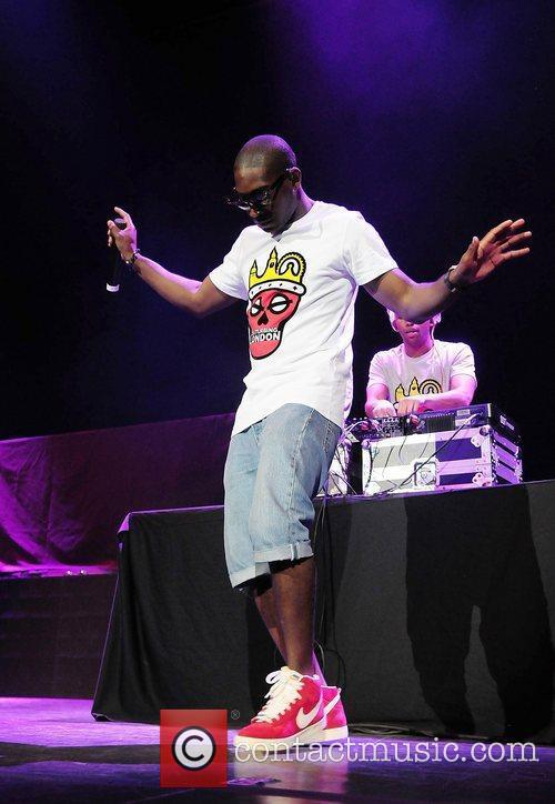 Rapper Tinie Tempah, performing on Usher's 'OMG Tour'...