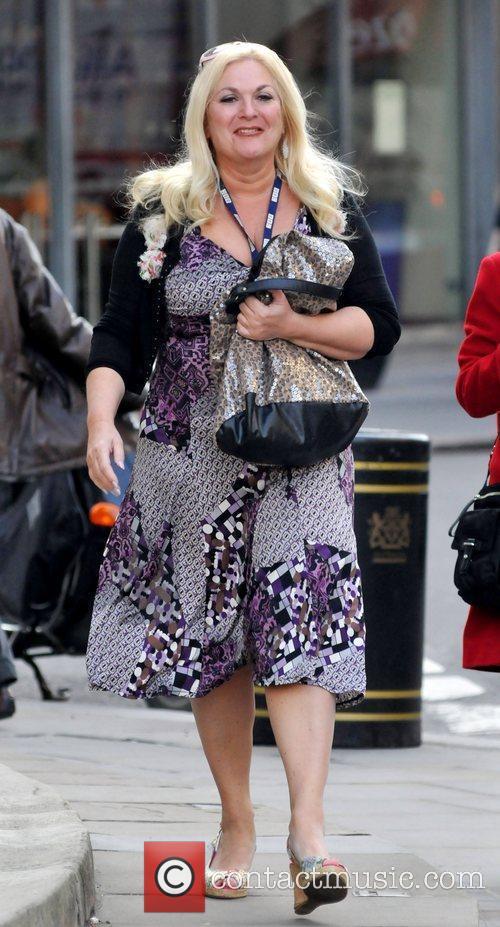 Vanessa Feltz arriving at the BBC London, England