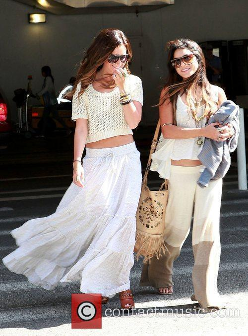 Ashley Tisdale and Vanessa Hudgens (right) arrive at...