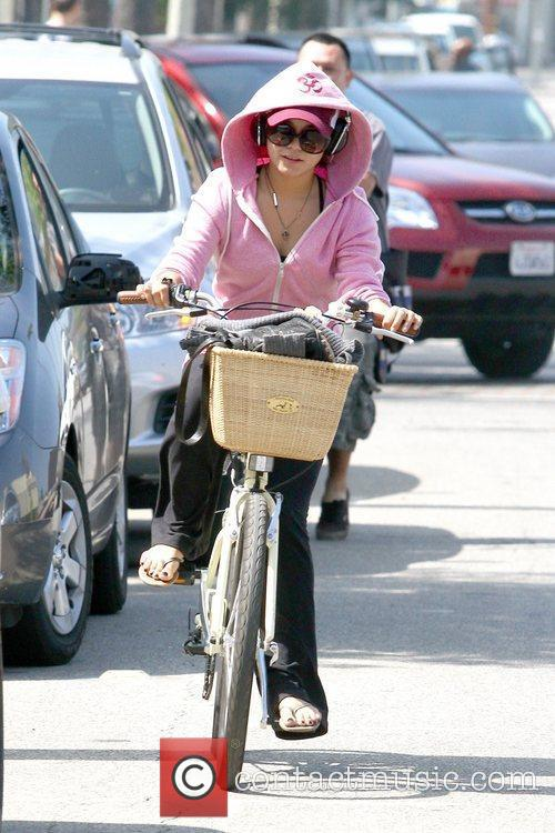 Running errands on her bicycle in Studio City
