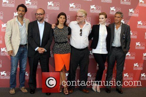 Grant Heslov, Evan Rachel Wood, George Clooney, Marisa Tomei, Paul Giamatti and Philip Seymour Hoffman 2