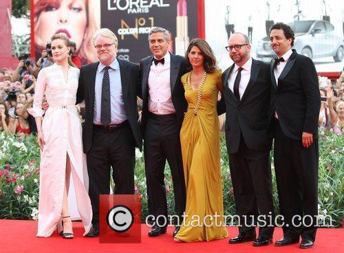 Evan Rachel Wood, George Clooney, Grant Heslov, Marisa Tomei, Paul Giamatti and Philip Seymour Hoffman 2