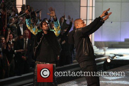 Kanye West and Jay-Z at Victoria's Secret show 2011