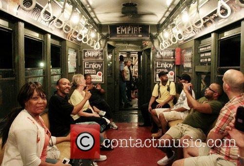A vintage 1917 subway train is used to...
