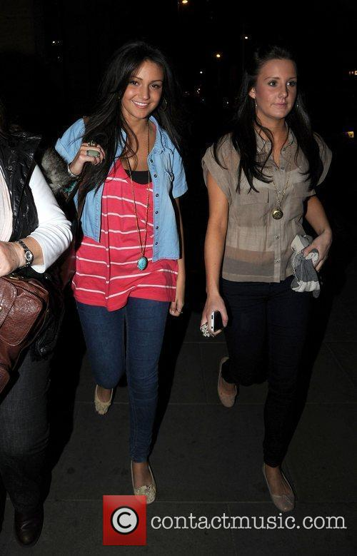 Michelle Keegan (left) leaves The Wanted after show...