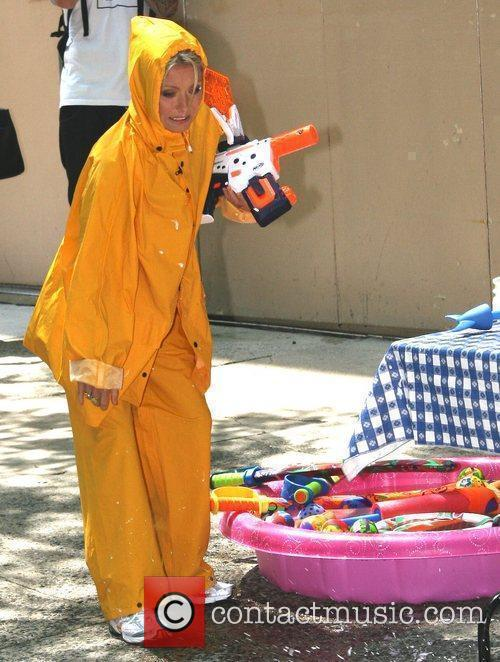 Taping 'Water Toys' segment outside ABC studios' 'Live...