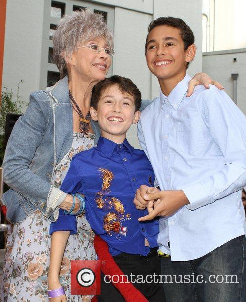 Rita Moreno with Grandkids Hand and footprint ceremony...
