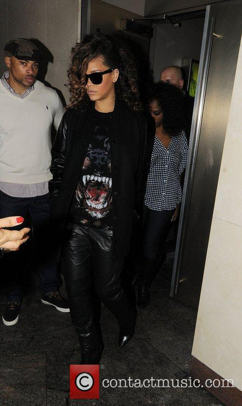 Rihanna leaves Whisky Mist nightclub.