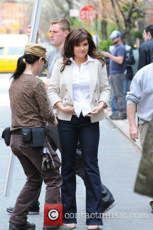 Tiffani Thiessen filming on location for 'White Collar'...