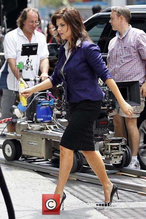 Tiffani Thiessen on the set of 'White Collar'...