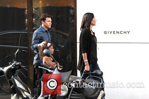 Out shopping with his family on Faubourg Saint-Honore...