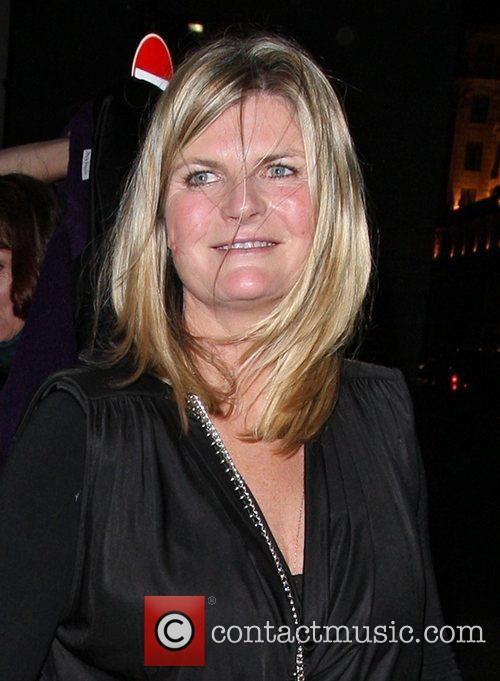 Susannah Constantine outside the Wolseley restaurant having a...