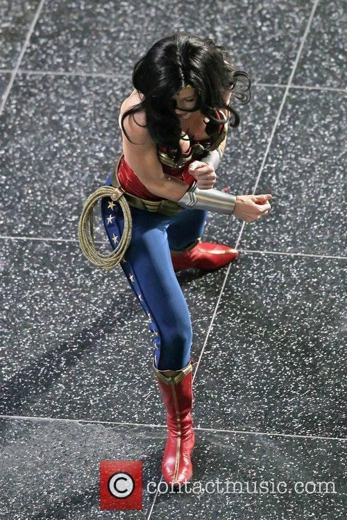 Adrianne Palicki filming scenes for 'Wonder Woman'...
