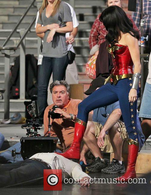 Adrianne Palicki filming scenes for 'Wonder Woman'