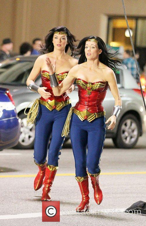 Adrianne Palicki (L) and her stunt double filming...