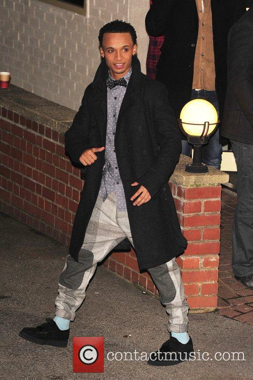 Aston Merrygold of JLS leaving X Factor Fountain...