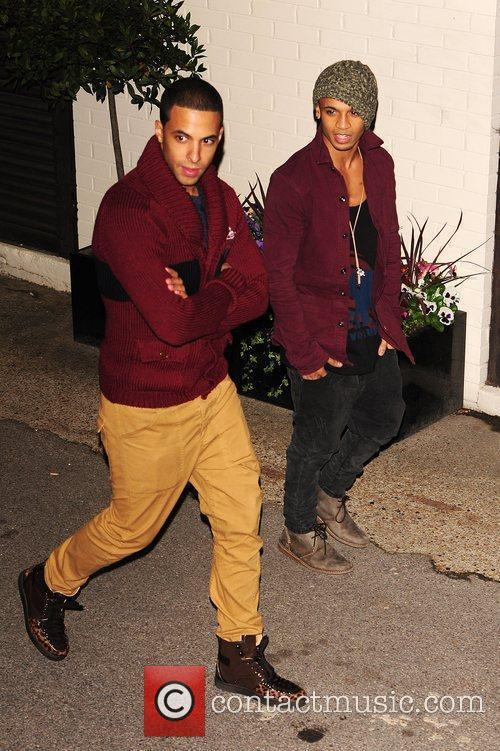 Marvin Humes and Aston Merrygold of JLS leaving...