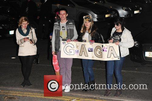 Lady Gaga's fans at X Factor Fountain Studios...