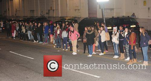 One Direction's fans at X Factor Fountain Studios...