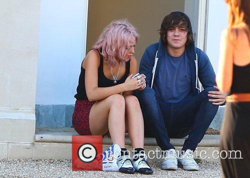 Frankie Cocozza, Kitty Brucknell 'X Factor' finalists outside...