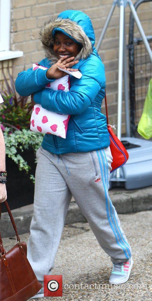 Misha Bryan arrives at the 'X Factor' studios...