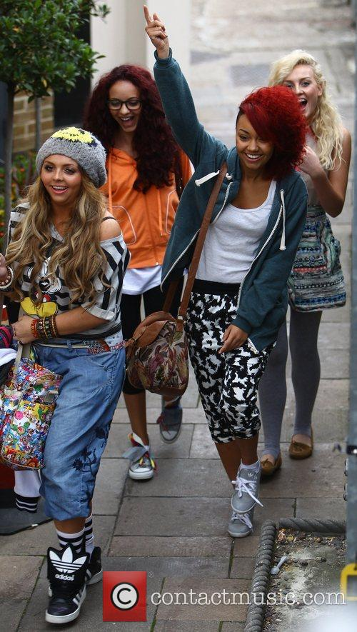 Arriving at 'The X Factor' studios