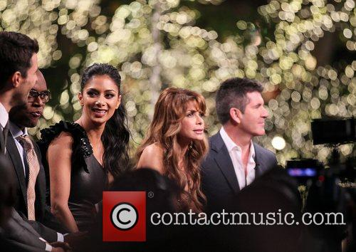 'The X Factor' USA judges and contestants filming...