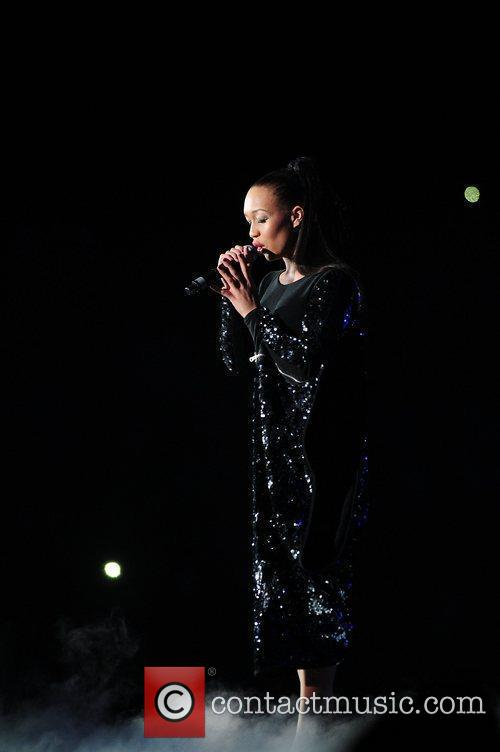 Rebecca Ferguson,  performing at The X Factor...