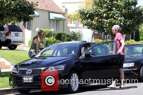 Zachary Quinto returning to his newly purchased car...