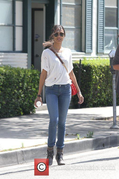 Zoe Saldana is seen toting a stylish Lanvin...