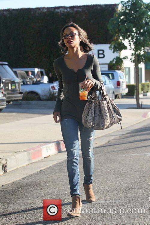 Zoe Saldana leaving a hair salon in West...