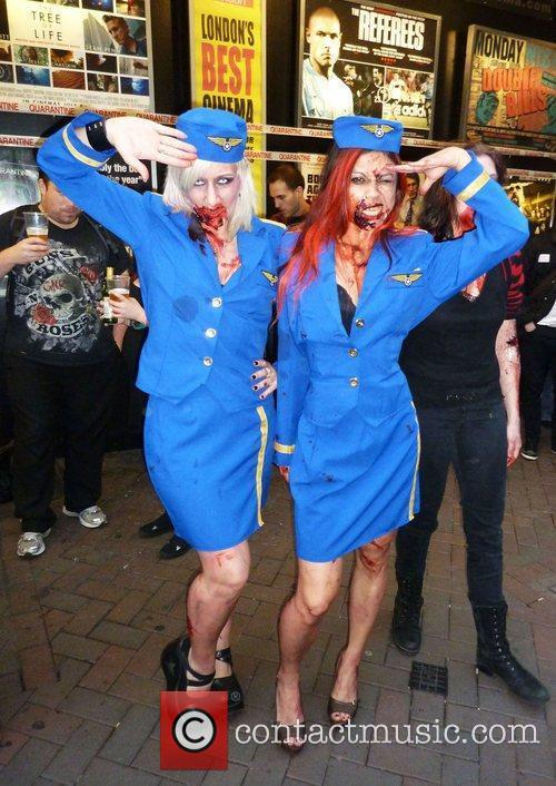 Wannabe zombies gather outside The Prince Charles Cinema...