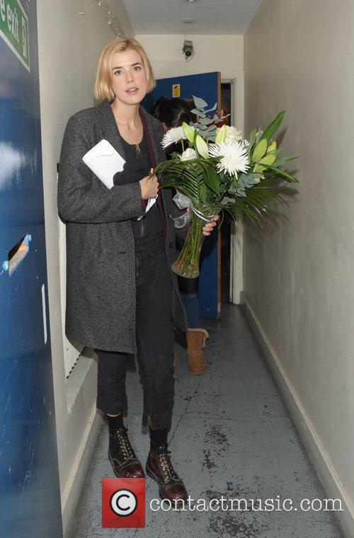 Agyness Deyn leaving Trafalgar Studios after her production...
