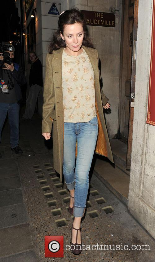 Anna Friel leaves the Vaudeville Theatre after performing...